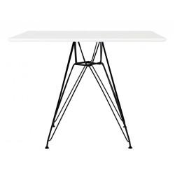 Stół DSR SQUARE BLACK 100x100 biały - blat MDF, podstawa metalowa czarna