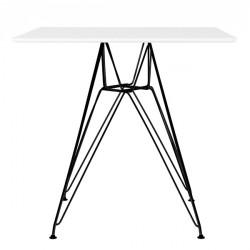 Stół DSR SQUARE BLACK 80x80 biały - blat MDF, podstawa metalowa czarna