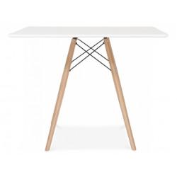 Stół DSW SQUARE 100x100 biały - blat MDF, podstawa bukowa