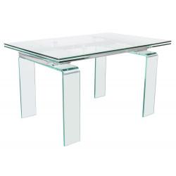 Stół szklany ATLANTIS CLEAR 160/240 - rozkładany, szkło transparentne