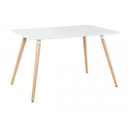Stół TARROS biały - blat MDF, bukowe nogi