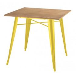 Stół TOWER WOOD żółty - blat jesion/metal