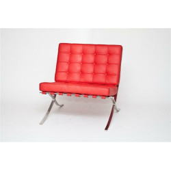 Fotel BA1 skóra naturalna czerwona