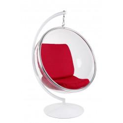 Fotel Bańka z podstawą czerwona poduszka