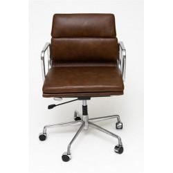 Fotel biurowy CH2171 brązowa skóra chrom