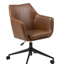 Fotel biurowy na kółkach Nora Vintage ek o skóra brązowa