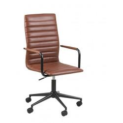Fotel biurowy na kółkach Winslow brązowy