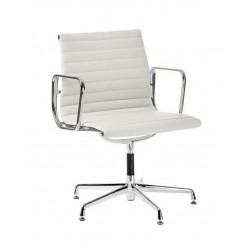 Fotel konf. CH1081T,biała skóra ,chr