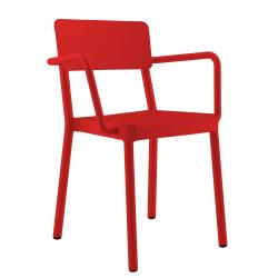 Krzesło Lisboa z podłokietnikami czerwon e