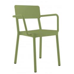 Krzesło Lisboa z podłokietnikami zielone
