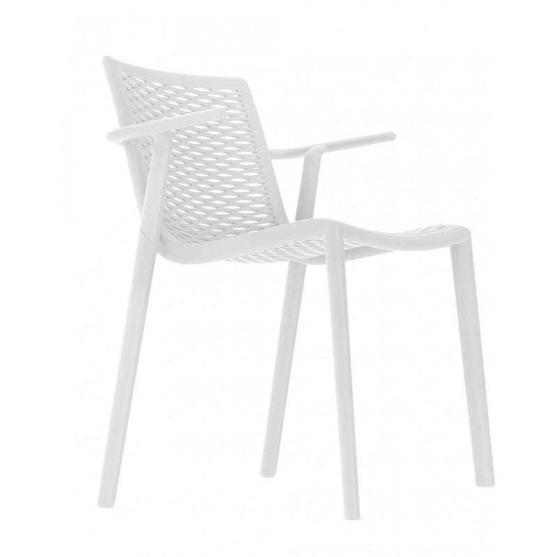 Krzesło NetKat z podłokietnikami białe