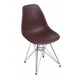 Krzesło P016 PP brązowe, chromowane nogi