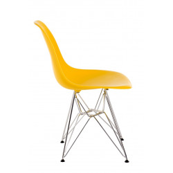 Krzesło P016 PP żółte, chromowane nogi