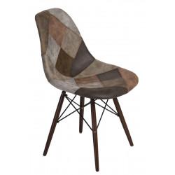 Krzesło P016W patchwork beż - brąz/ dark