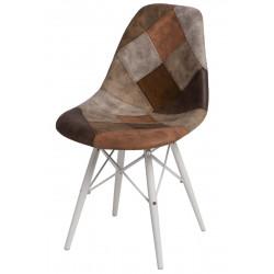 Krzesło P016W Patchwork beż - brąz/white