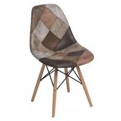 Krzesło P016W patchwork beżowo - brązowy