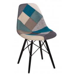 Krzesło P016W Patchwork nieb-szary/black