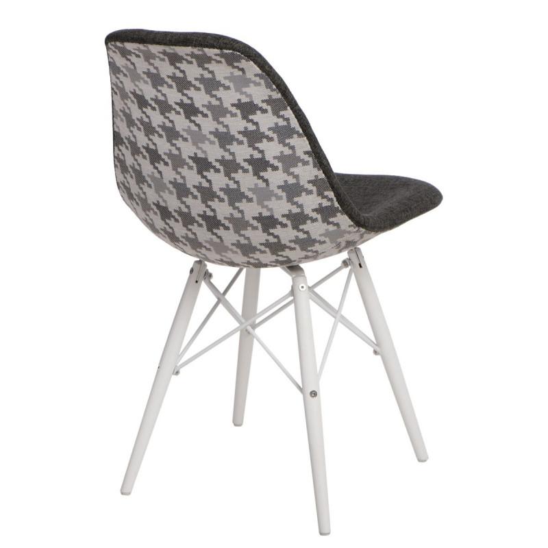 Krzesło P016W Pattern szar-pepitka/white