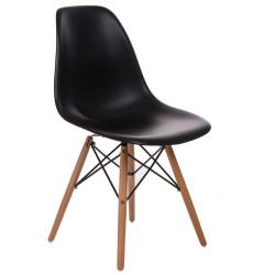 Krzesło P016W PP czarne, drewniane nogi