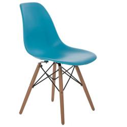 Krzesło P016W PP niebieskie, drewniane nogi