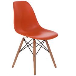 Krzesło P016W PP pomaranczowe, drewniane nogi