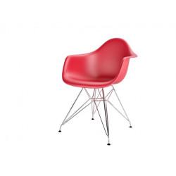 Krzesło P018PP czerwone chrom nogi HF