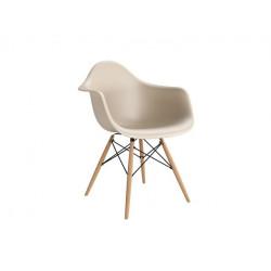 Krzesło P018W PP beige, drewniane nogi