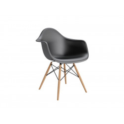 Krzesło P018W PP czarne, drewniane nogi