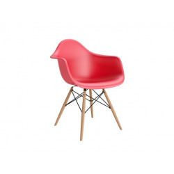 Krzesło P018W PP czerwone, drewniane nogi HF