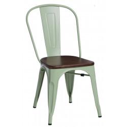 Krzesło Paris Wood zielone sosna orzech