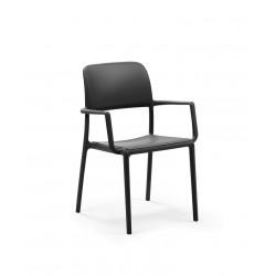 Krzesło Riva z podłokietnikami czarne