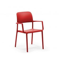 Krzesło Riva z podłokietnikami czerwone