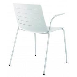 Krzesło Skin 4 białe podstawa biała z podłokietnikami