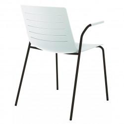 Krzesło Skin 4 białe podstawa czarna z podłokietnikami