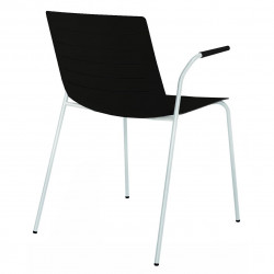 Krzesło Skin 4 czarne podstawa biała z podłokietnikami
