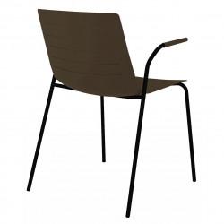 Krzesło Skin 4 czekoladowe podstawa czar na z podłokietnikami