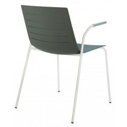 Krzesło Skin 4 szare podstawa biała z podłokietnikami