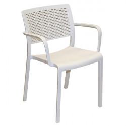 Krzesło Trama z podłokietnikami białe