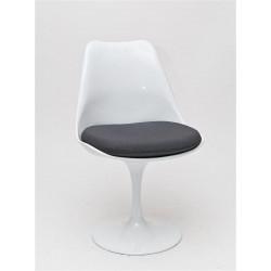 Krzesło Tul białe/szara poduszka