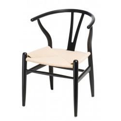 Krzesło Wicker Naturalne Czarny inspirow ane Wishbone
