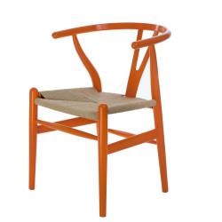 Krzesło Wicker Naturalne pomarańczowy in spirowany Wishbone