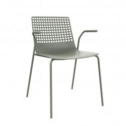 Krzesło Wire 4 brudny zielony z podłokie tnikami