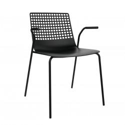 Krzesło Wire 4 czarne z podłokietnikami