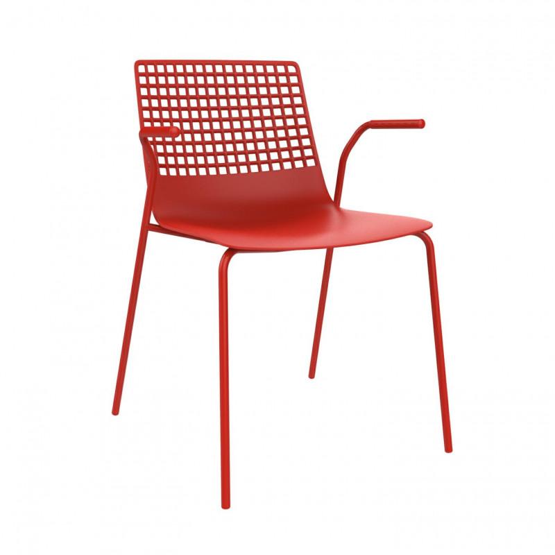 Krzesło Wire 4 czerwone z podłokietnikam i