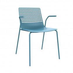 Krzesło Wire 4 niebieskie z podłokietnik ami