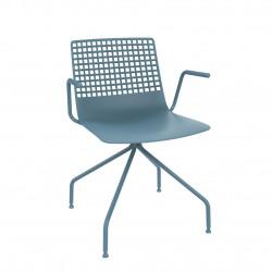 Krzesło Wire Arana niebieskie z podłokie tnikami