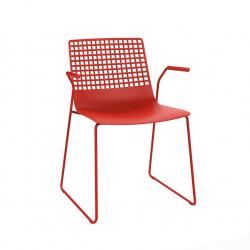 Krzesło Wire Patin czerwone z podłokietn kami