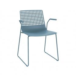 Krzesło Wire Patin niebieskie z podłokie tnikami