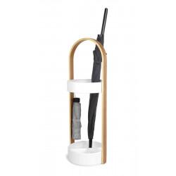 Stojak na parasole Hub biały/naturalny