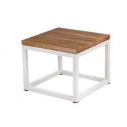 Stolik Cube 45x45 biały profil 30 mm blat lakierowany dąb naturalny